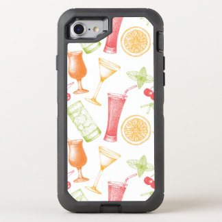 Skizziertes Cocktail-Muster OtterBox Defender iPhone 8/7 Hülle