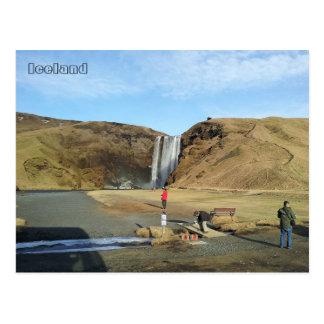 Skógafoss Wasserfall, Island Postkarte