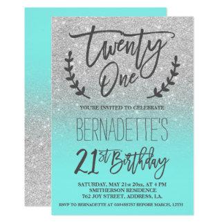 Skript des Glitters des Imitats silbernes 12,7 X 17,8 Cm Einladungskarte