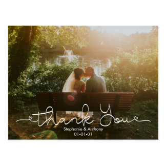 Skript-Gekritzel-Foto-Hochzeit danken Ihnen zu Postkarte