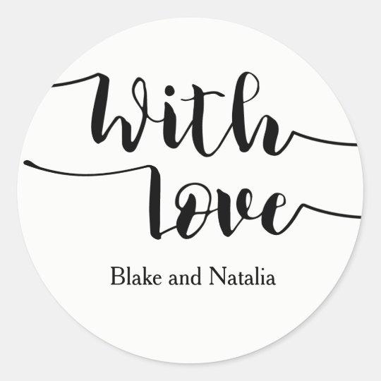 Skript mit Liebe-Wedding Runder Aufkleber