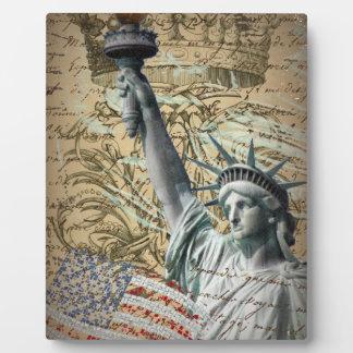 Skript-patriotisches New- Yorkfreiheitsstatue Fotoplatte