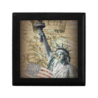 Skript-patriotisches New- Yorkfreiheitsstatue Schmuckschachtel