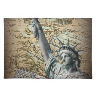 Skript-patriotisches New- Yorkfreiheitsstatue Stofftischset