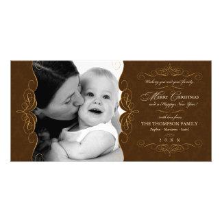 Skript-Wirbels-Land-Brown-WeihnachtsFotokarte Fotokartenvorlagen