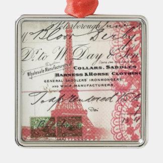 Skriptspitze-Rosa-Eiffelturm Paris schicker Silbernes Ornament