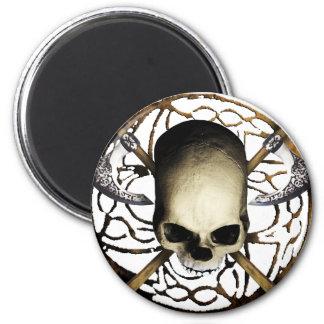 skull tribal axe B Runder Magnet 5,7 Cm