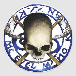 skull tribal axe C Runder Aufkleber