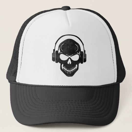 Skull with Headphones - Rave - Electro - Hardstyle Truckerkappe