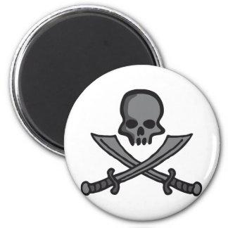 skull with swords runder magnet 5,1 cm