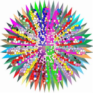 Skulptur-Mandala-Grafik-Blau-Dekoration Freistehende Fotoskulptur