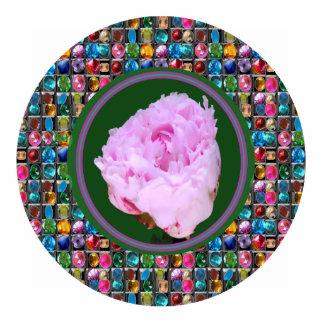 Skulptur-rosa Rosen-Blumen-Blumendekorationen Freistehende Fotoskulptur