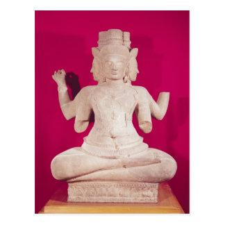 Skulptur von Brahma mit vier Gesichtern 2 Postkarte