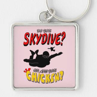 Skydive oder Huhn? (Schwarzes) Schlüsselanhänger