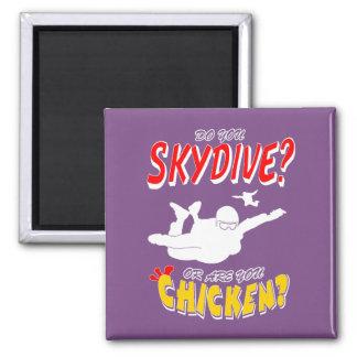 Skydive oder Huhn? (weiß) Quadratischer Magnet