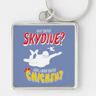 Skydive oder Huhn? (weiß) Schlüsselanhänger