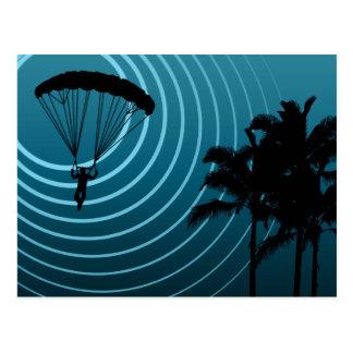 skydiving Mondenschein Postkarte