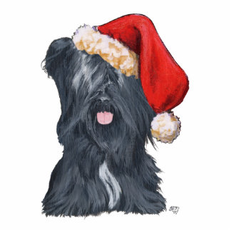 Skye Terrier Weihnachtsmann Freistehende Fotoskulptur