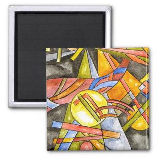Skyjumper - geometrische handgemalte abstrakte quadratischer magnet