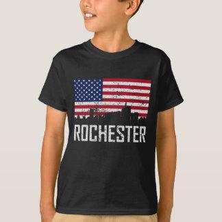 Skyline-amerikanische Flagge Distresse Rochesters T-Shirt