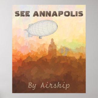 Skyline Annapolis Maryland in den WOLKEN Poster