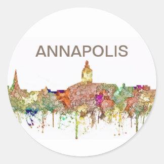 Skyline Annapolis Maryland SG-Verblaßten Ruhm Runder Aufkleber