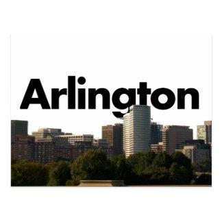 Skyline Arlingtons TX mit Arlington im Himmel Postkarte