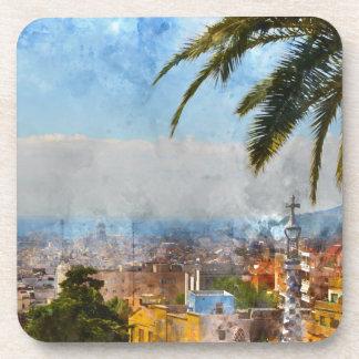Skyline Barcelonas Spanien Getränkeuntersetzer