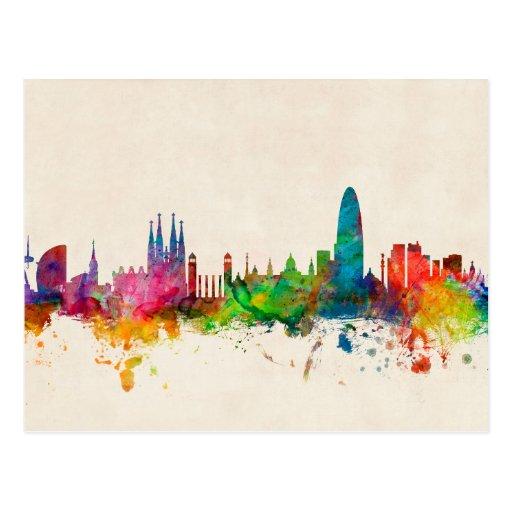 Skyline Barcelonas Spanien Postkarten