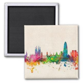 Skyline Barcelonas Spanien Quadratischer Magnet
