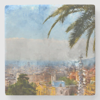 Skyline Barcelonas Spanien Steinuntersetzer