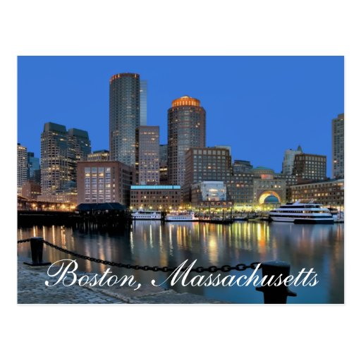 Skyline Bostons Massachusetts an der Sonnenunterga Postkarte