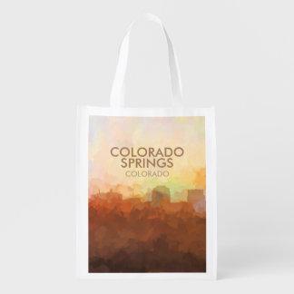 Skyline Colorado Springss, Colorado in den WOLKEN Wiederverwendbare Einkaufstasche
