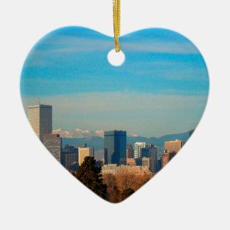 Skyline Denvers Colorado Keramik Herz-Ornament