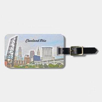Skyline-Gepäckanhänger Clevelands, OH-Fluss Kofferanhänger