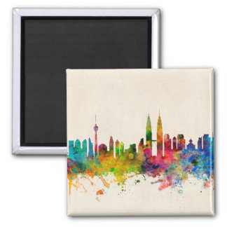 Skyline Kuala Lumpur Malaysia Quadratischer Magnet
