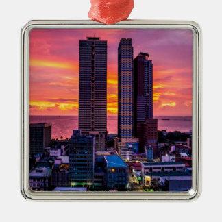 Skyline Manilas Philippinen Silbernes Ornament