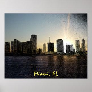 Skyline Miamis, Florida Poster