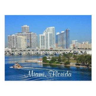 Skyline Miamis Florida und Hafen-Postkarte Postkarte