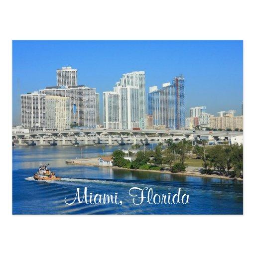 Skyline Miamis Florida und Hafen-Postkarte