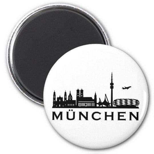 Skyline München Runder Magnet 5,7 Cm