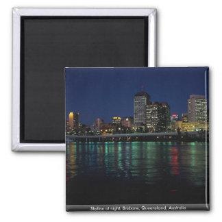 Skyline nachts, Brisbane, Queensland, Australien Quadratischer Magnet