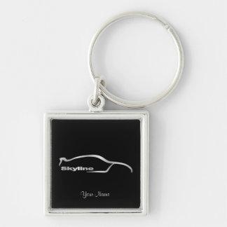 Skyline-silbernes Silhouette-Prämien-Logo Silberfarbener Quadratischer Schlüsselanhänger