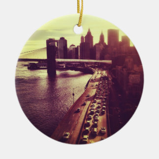 Skyline-Sonnenuntergang - Brooklyn-Brücke und NYC Keramik Ornament