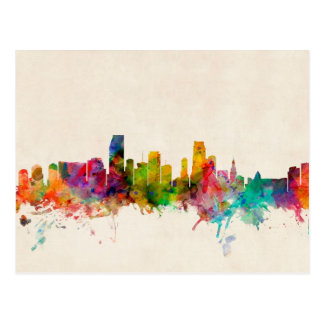 Skyline-Stadtbild Miamis Florida Postkarte