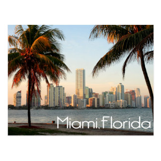 Skyline und Hafen Miamis Florida nachts USA Postkarte