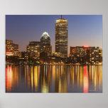Skyline USA, Massachusetts, Boston an Dämmerung 2 Posterdruck