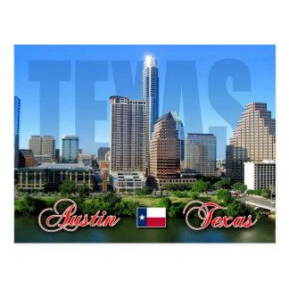 Skyline von im Stadtzentrum gelegenem Austin, Postkarte