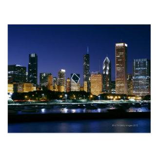 Skyline von im Stadtzentrum gelegenem Chicago nach Postkarten