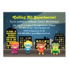 Skylinesuperhero-Geburtstags-Party für Kinder Karte
